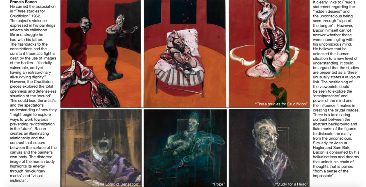 Page from Nadezda Entts' portfolio drawing inspiration from Francis Bacon